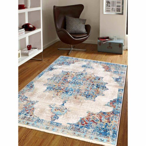 9 x 12 ft. Machine Woven Crossweave Polyester Oriental Rectangle Area Rug, Multi Color Perspective: front