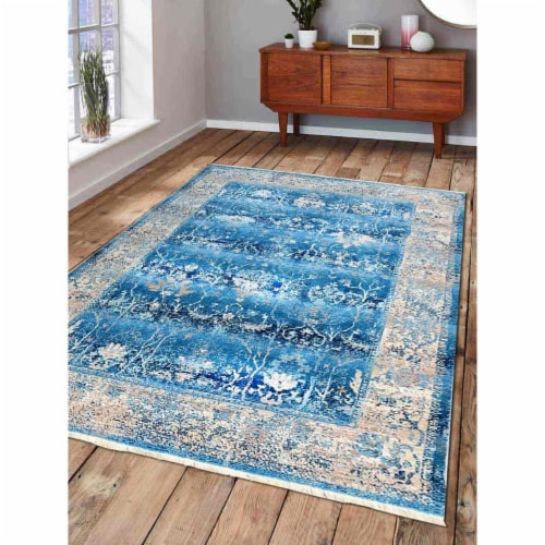 5 ft. x 7 ft. 10 in. Machine Woven Crossweave Polyester Oriental Rectangle Area Rug, Blue Perspective: front