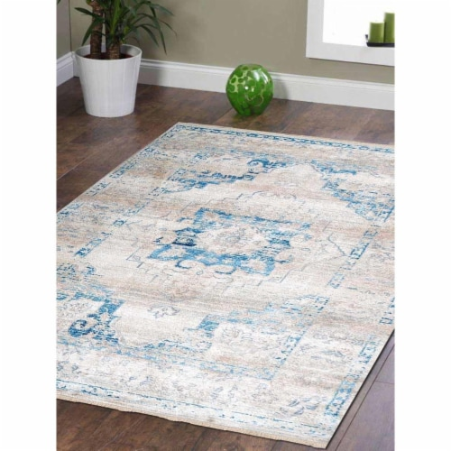 5 ft. x 7 ft. 10 in. Machine Woven Crossweave Polyester Oriental Rectangle Area Rug, Ivory & Perspective: front