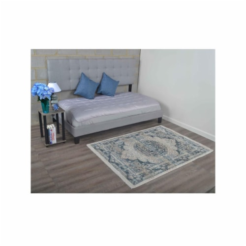 8 x 10 ft. Machine Woven Crossweave Polyester Oriental Rectangle Area Rug, Multi Color Perspective: front