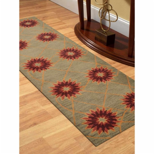 2 ft. 6 in. x 8 ft. Hand Tufted Wool Floral Runner Rug, Cream Perspective: front