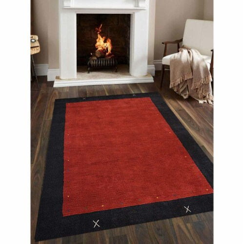 5 ft. 7 in. x 7 ft. 10 in. Hand Knotted Gabbeh Wool Contemporary Rectangle Area Rug, Red & Bl Perspective: front