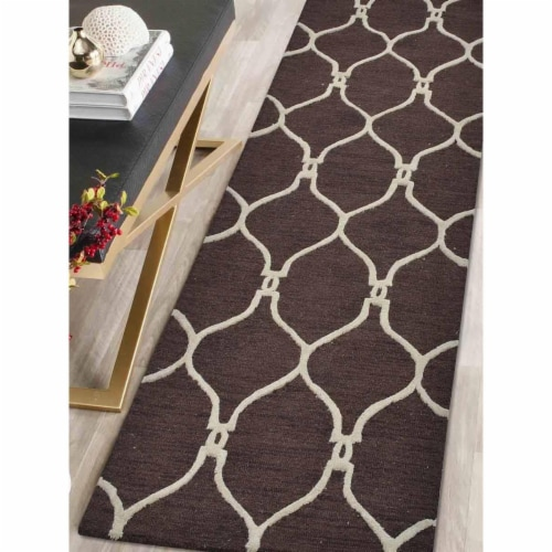 2 ft. 6 in. x 8 ft. Hand Tufted Wool Geometric Runner Rug, Brown & Beige Perspective: front