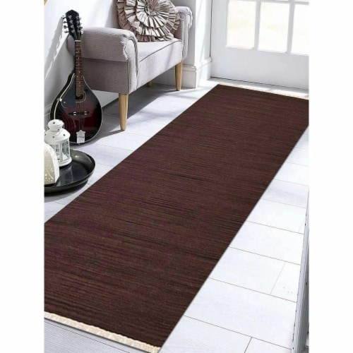 2 ft. 6 in. x 12 ft. Hand Woven Flat Weave Kilim Wool Runner Rug, Dark Brown Perspective: front