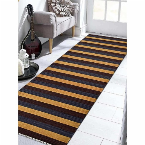 3 x 13 ft. Hand Woven Flat Weave Kilim Wool Contemporary Runner Rug, Multi Color Perspective: front