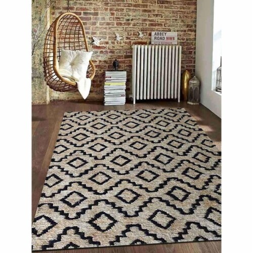 8 x 10 ft. Hand Knotted Sumak Jute Eco-Friendly Geometric Rectangle Area Rug, Beige & Black Perspective: front