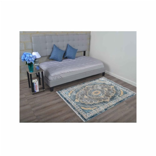 4 ft. x 5 ft. 11 in. Machine Woven Crossweave Polyester Oriental Rectangle Area Rug, Black & Perspective: front