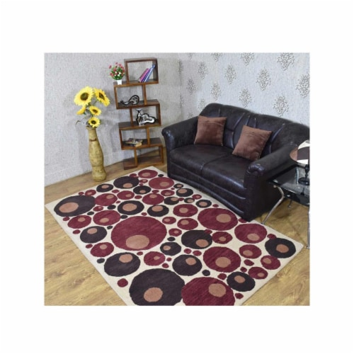 8 x 10 ft. Hand Tufted Wool Contemporary Rectangle Area Rug, Beige & Red Perspective: front