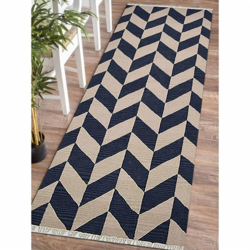 2 ft. 6 in. x 12 ft. Hand Woven Flat Weave Kilim Wool Contemporary Runner Rug, Blue & White Perspective: front