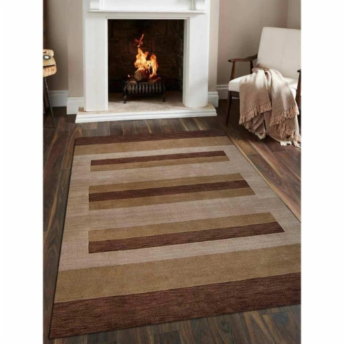 5 ft. 7 in. x 7 ft. 10 in. Hand Knotted Gabbeh Wool Contemporary Rectangle Area Rug, Brown & Perspective: front