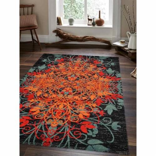 8 x 10 ft. Machine Woven Heatset Polypropylene Floral Rectangle Area Rug, Multi Color Perspective: front