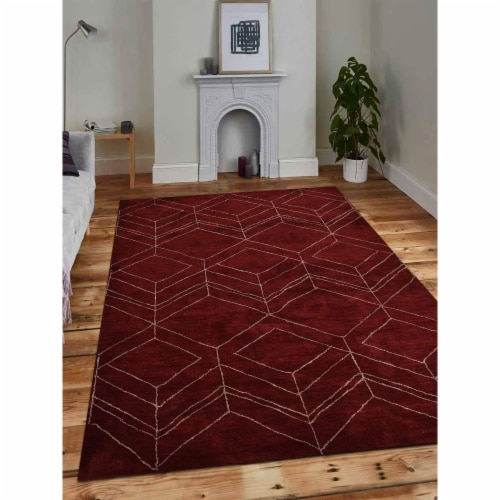 8 x 10 ft. Hand Knotted Gabbeh Silk Geometric Rectangle Area Rug, Red Perspective: front