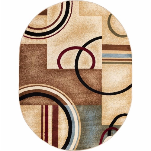 Barclay Arcs and Shapes 5 ft. 3 in. x 6 ft. 10 in. Oval Area Rug in Natural Perspective: front