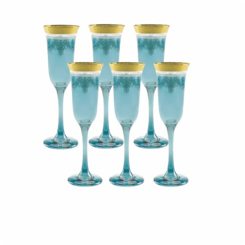 Blue Flutes with Gold Band - Set of 6 Perspective: front
