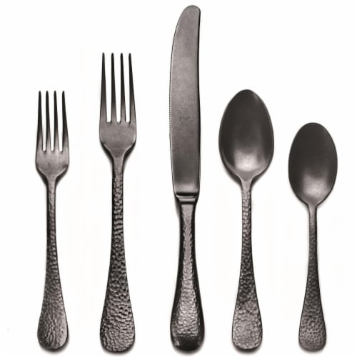 Stainless Steel Place Setting - Epoque Oro Nero Pewter - 5 Piece Perspective: front