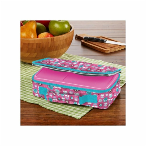 Rainbow Owl Bento Lunch Box Set with Insulated Carry Bag, Pink Perspective: front
