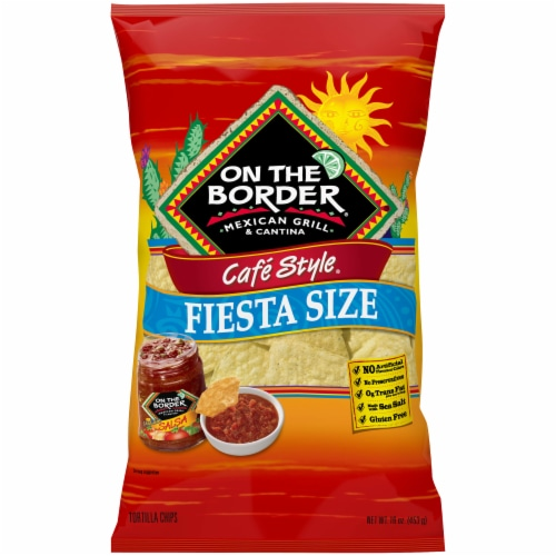 On the Border Cafe Style Fiesta Size Tortilla Chips Perspective: front