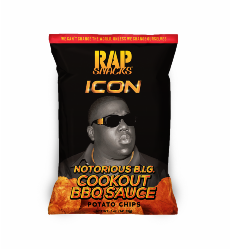 Rap Snacks Notorious B.I.G. Cookout BBQ Sauce Chips Perspective: front