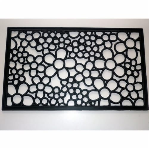 Geo Crafts G163 DAISY RBR-RECT 18 x 30 in. Rubber Rectangle Daisy Scroll Design Doormat Perspective: front