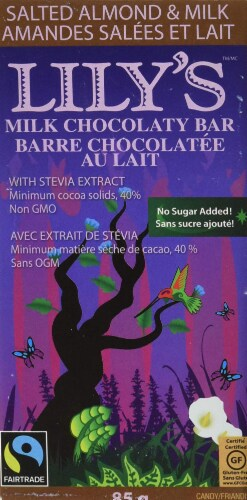 Lily's Sweets Salted Almond & Milk Chocolate bar, 3 oz Perspective: front