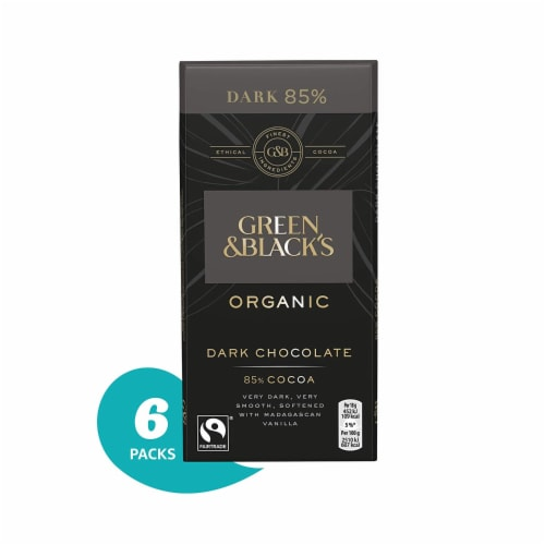 Green & Black's Organic 85% Dark Chocolate Candy Bars, 6 Count Perspective: front