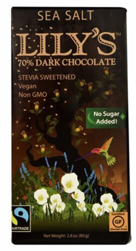 Lily's Dark Chocolate with Stevia Sea Salt -- 2.8 oz - 2 pc Perspective: front