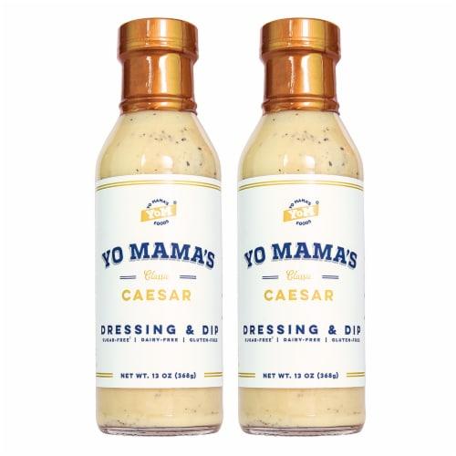 Yo Mama's Foods Keto Caesar Salad Dressing (2) Bottles Perspective: front