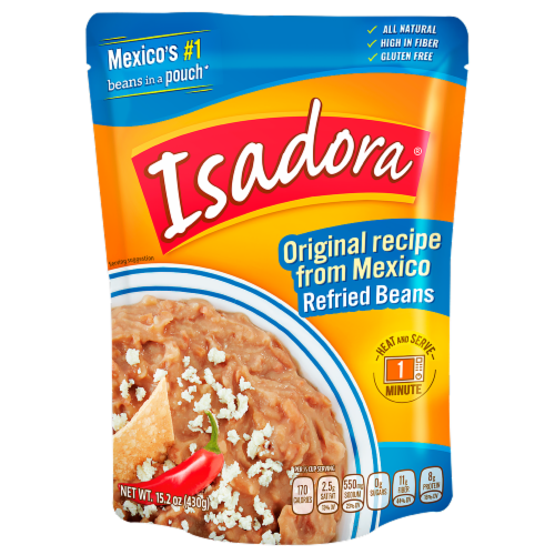 Isadora Orginal Refried Beans Pouch Perspective: front