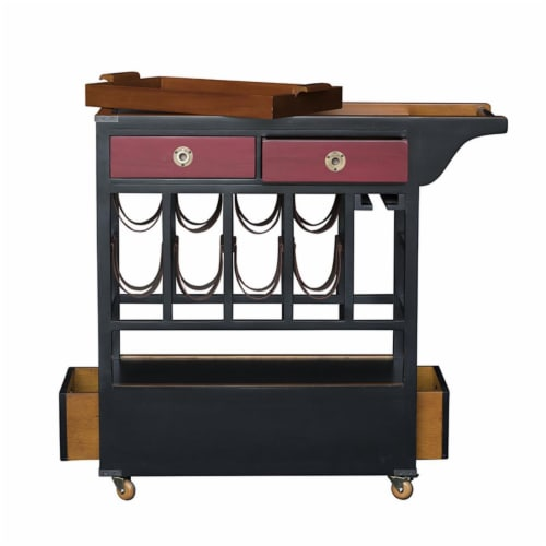Authentic Models MF163 Bar Trolley - Medium Honey, Black & Chinese Red Perspective: front