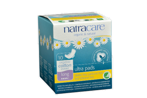 Natracare Organic Ultra Long Pads with Wings Perspective: front