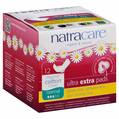 Natracare Organic Ultra Extra Normal Pads with Wings Perspective: front
