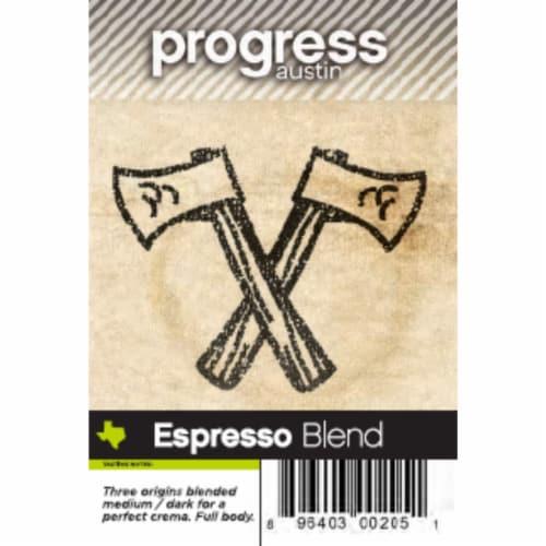 Espresso Blend Coffee Progress Austin Citrus Strong Nutty Crema 12 oz. Perspective: front