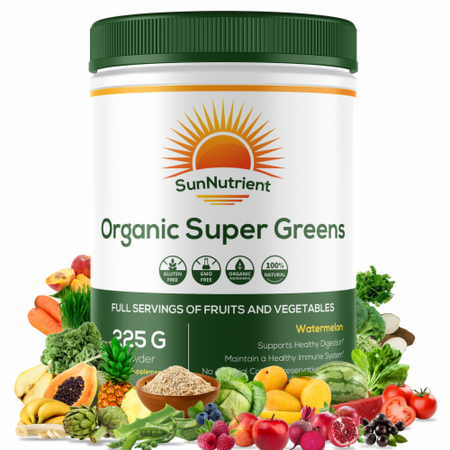 Organic Super Greens - Watermelon Non - Supports Healthy Digestion - 225g Powder Perspective: front