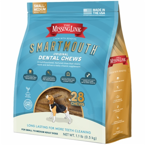 Missing Link 62600180 Smart Mouth Dental Dog Chew - Small & Medium - 28 Count Perspective: front
