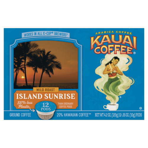 Kauai Coffee Island Sunrise Mild Roast Ground Coffee Single-Serve Pods Perspective: front