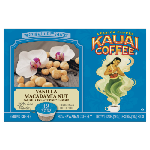 Kauai Coffee Vanilla Macadamia Nut Ground Coffee Single-Serve Pods Perspective: front
