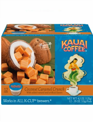 Kauai Coffee Coconut Caramel Crunch Ground Coffee Single-Serve Pods Perspective: front