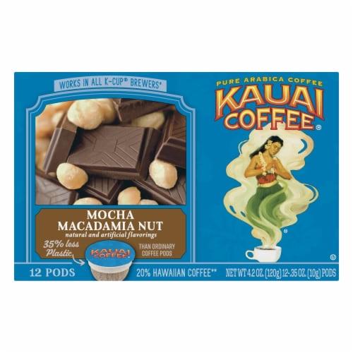 Kauai Coffee Mocha Macadamia Nut Single-Serve Pods, 12 Count Perspective: front