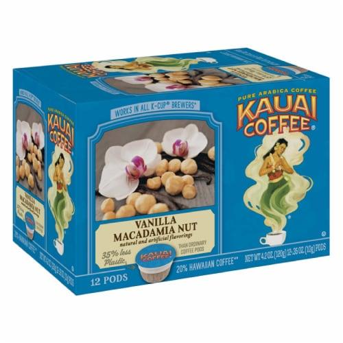 Kauai Coffee Vanilla Macadamia Nut Single-Serve Cups, 12 Count Perspective: front