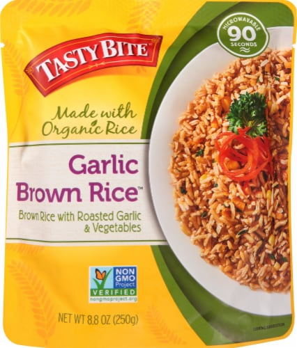 Tasty Bite Garlic Brown Rice Perspective: front