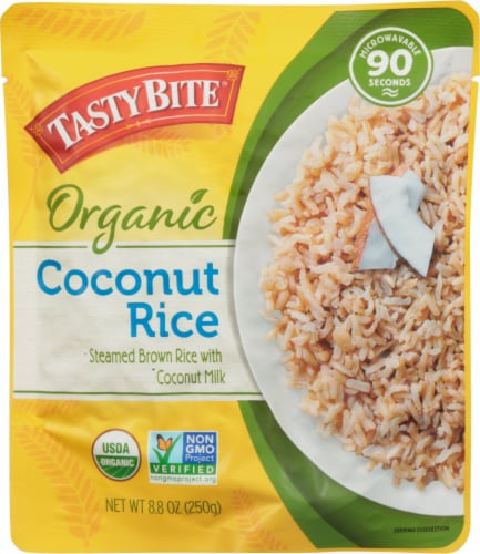 Tasty Bite Organic Steamed Brown Rice with Coconut Milk Perspective: front
