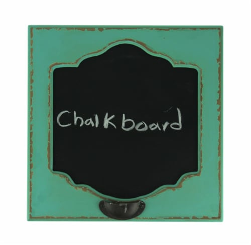 Distressed Blue Old Fashioned Wood Frame Wall Mount Chalkboard Sign Perspective: front