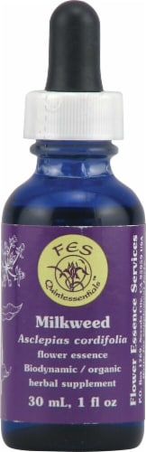 Flower Essence  FES Quintessentials™ Milkweed Supplement Dropper Perspective: front