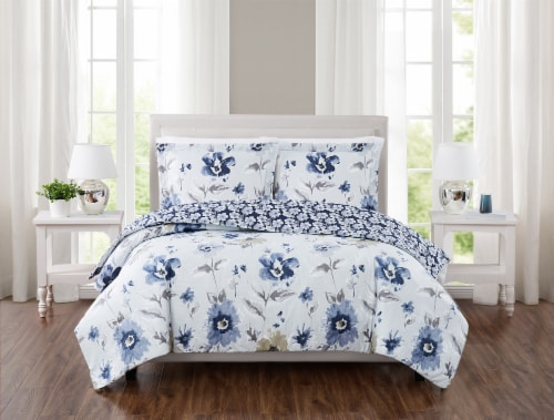 Truly Soft Cassie Comforter Set - 3 pc - Blue Perspective: front