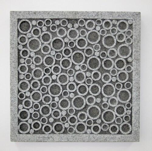 Sandstone square wall decor..w/bubble design 12.5 x 12.5 x 1.5 Perspective: front