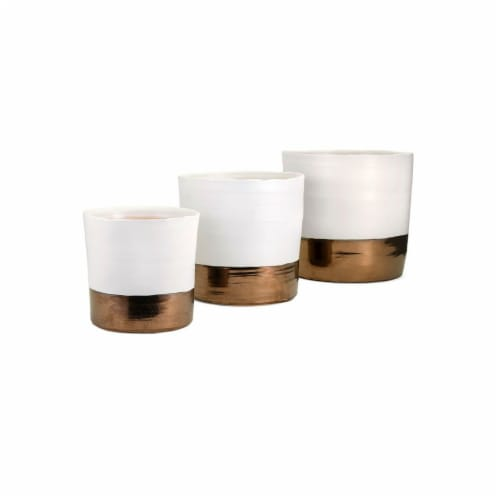 Imax Worldwide Home Harlow Ceramic Planters - Set of 3 Perspective: front