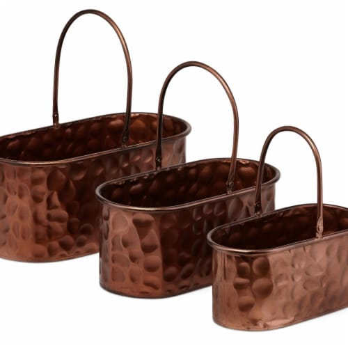 IMAX Z17167-3 Calvin Copper Planters - Set of 3 Perspective: front