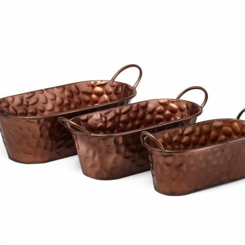 IMAX Z17171-3 Cooper Copper Planters - Set of 3 Perspective: front