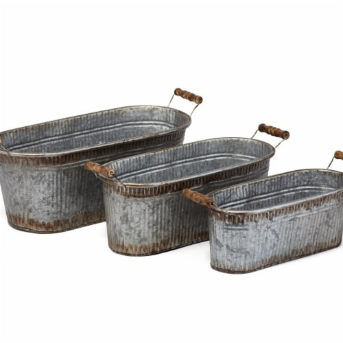 IMAX Z17224-3 Prairie Planters - Silver, Set of 3 Perspective: front