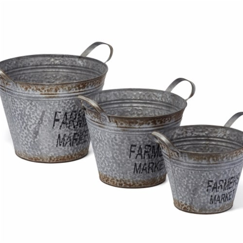 IMAX Z17240-3 Farmers Market Planters - Gray, Set of 3 Perspective: front